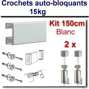 Kit  Nielsen 150 cm blanc / 2 fils-2 crochets 15 kg-embouts-raccord-fixations