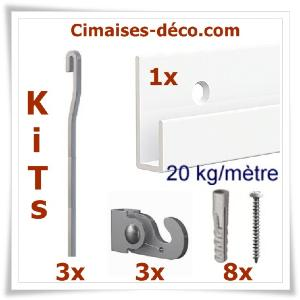 Kit Classic-rail J-3 tiges 4x4 mm 100 cm-3 crochets-8 vis & chevilles