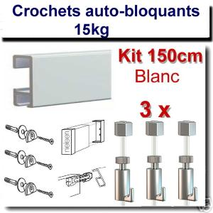 Kit  Nielsen 150 cm blanc / 3 fils-3 crochets 15 kg-embouts-raccord-fixations
